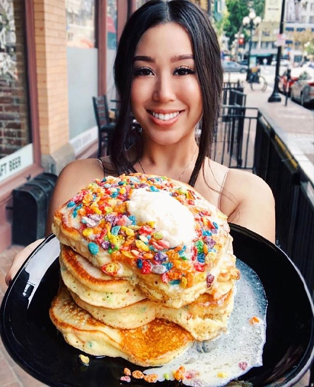 This is what #adulting looks like. 🥞 Also, I don't really understand adulting so... Delicious photo of our #FruityPebbles stack by @misohungrry 😍 #themorningaftersd #sandiego #brunch #gaslampquarter