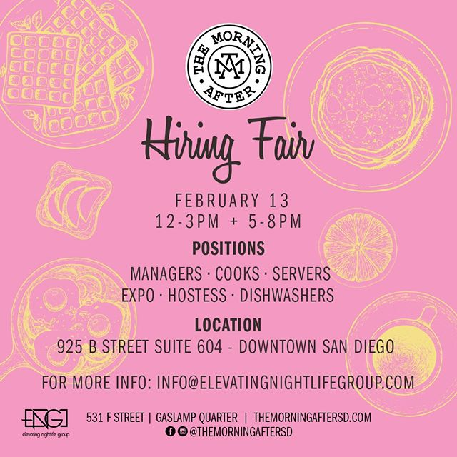 We are hiring! Join us on Wednesday, February 13th between 12pm and 3pm and between 5pm and 8pm for a chance to join our team!  Positions: Managers • Cooks • Servers • Expo • Hostess • Dishwashers  Location: 925 B Street Suite 604, San Diego, CA 92101  For more information: info@elevatingnightlifegroup.com #themorningaftersd