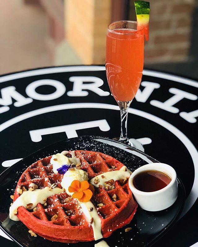 """Happy Valentine's Day! 💕 Enjoy """"You're the Waff That I Want"""" #RedVelvet Waffle and Watermelon Mimosa duo all day today for $14. 🍉 Stop in or make a reservation by clicking """"reserve"""" below our bio. 📸 @frankieg_213 #themorningaftersd #gaslampquarter"""