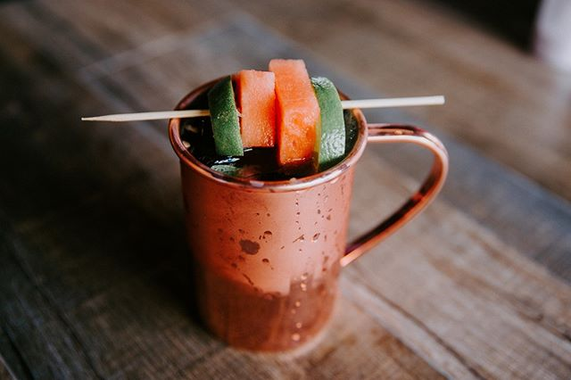 A Watermelon Mule for your #humpday 🍉Great for a lunch-time pick-me-up, or a morning pick-me-up...or an I don't care what time it is just get me through this day-me-up. We're open 7am-3pm, come on by! Reservations: (619) 542-9664 | themorningaftersd.com #themorningaftersd #gaslampquarter