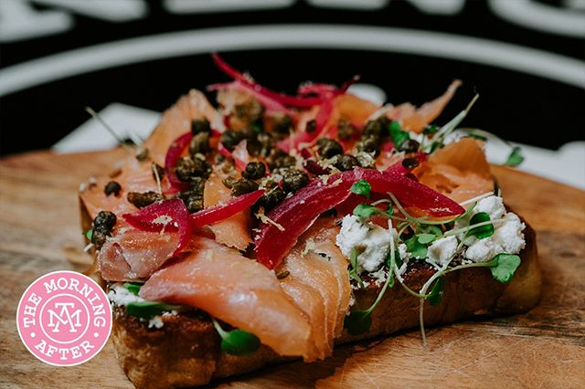 Not that hungry but need something to tide you over? Try our Smoked Salmon + Goat Cheese Toast 😍 [crispy fried capers, pickled red onion, caramelized lemon zest & micro arugula] themorningaftersd.com #themorningaftersd #gaslampquarter #brunch
