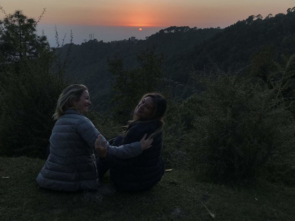 Our friends Tara and Mica enjoying the sunset over the Himalayan foothills