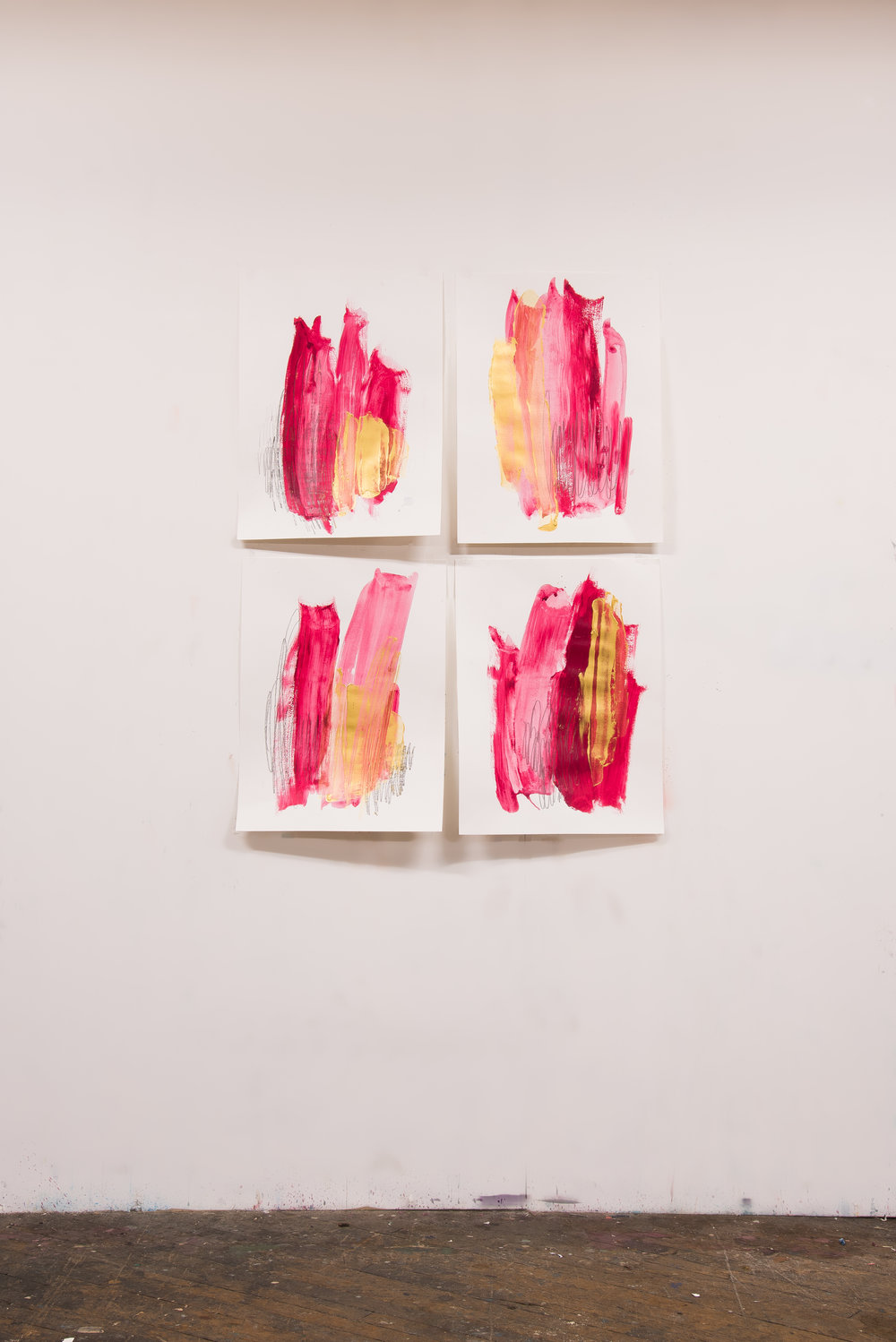 """So Fancy #1-4 , 18""""x24"""" each, acrylic + graphite on paper, 2018, #2-3 SOLD, #1 #4 available"""