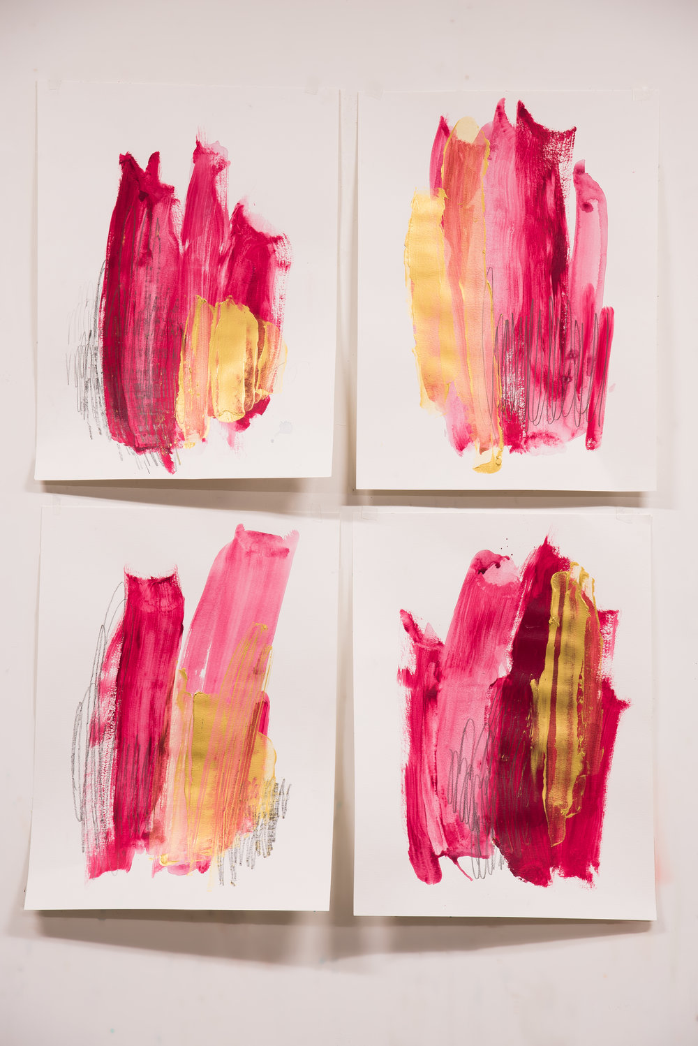 "So Fancy #1 , 18""x24"" each, acrylic + graphite on paper, 2018, #2-4 SOLD, #1 available"