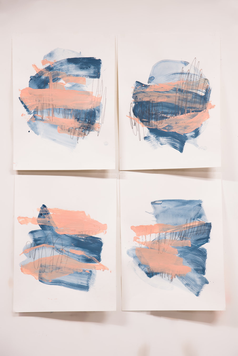 "Sweet Like Saltwater #1-4 , 18""x24"" each, acrylic + graphite on paper, 2018, available"