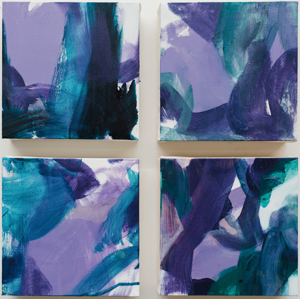 "Pinch Me #1-4,  10""x10"" each, acrylic on canvas, 2018  Studio Sale price: $400 each / additional 15% for multiples"