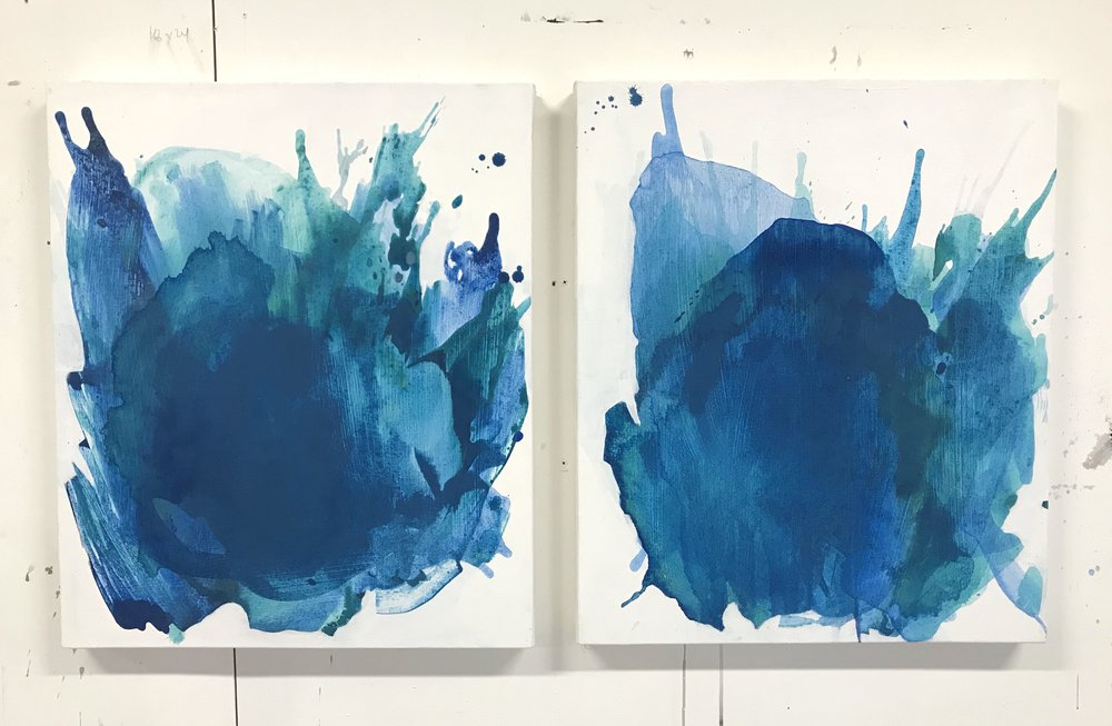 "Compress #1-2   21""x25"" each, acrylic on canvas, 2018  Studio Sale price: $800 each, $1,500 together"