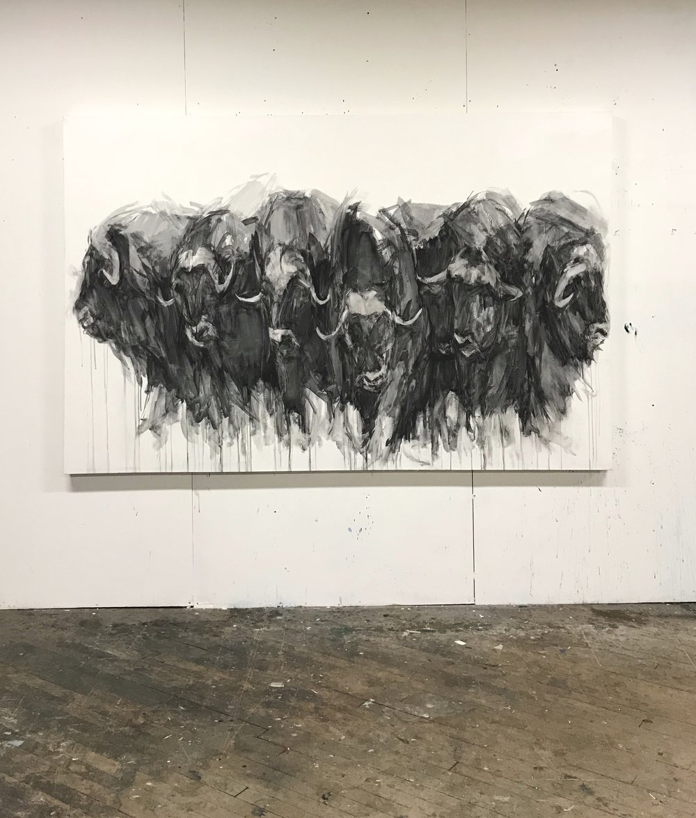 "Heads and Horns,  92""x60"", charcoal on canvas, 2016  Studio Sale price: $8,500"