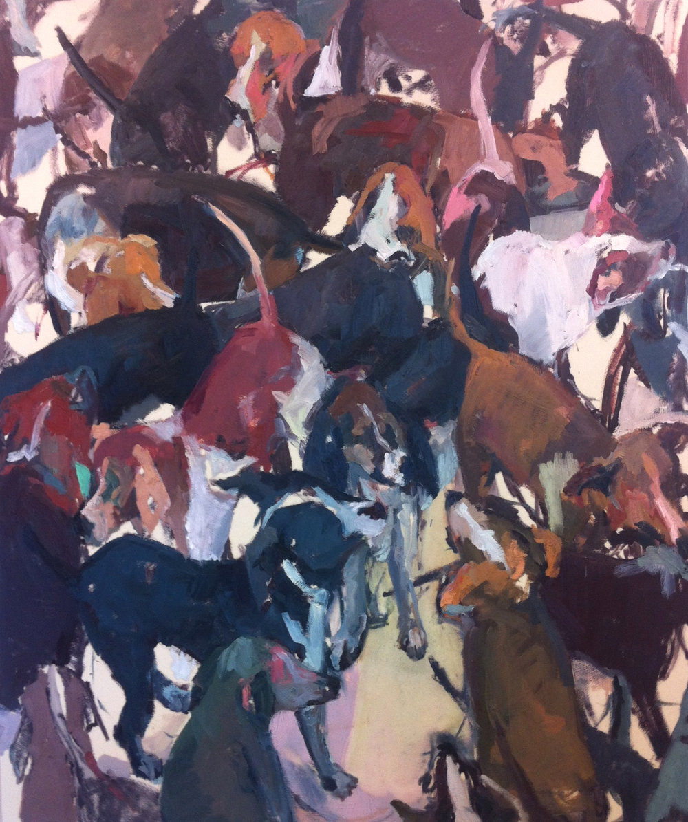 "Bull Pen,  60""x72"", oil on canvas, 2013  Studio Sale price: $4,800"