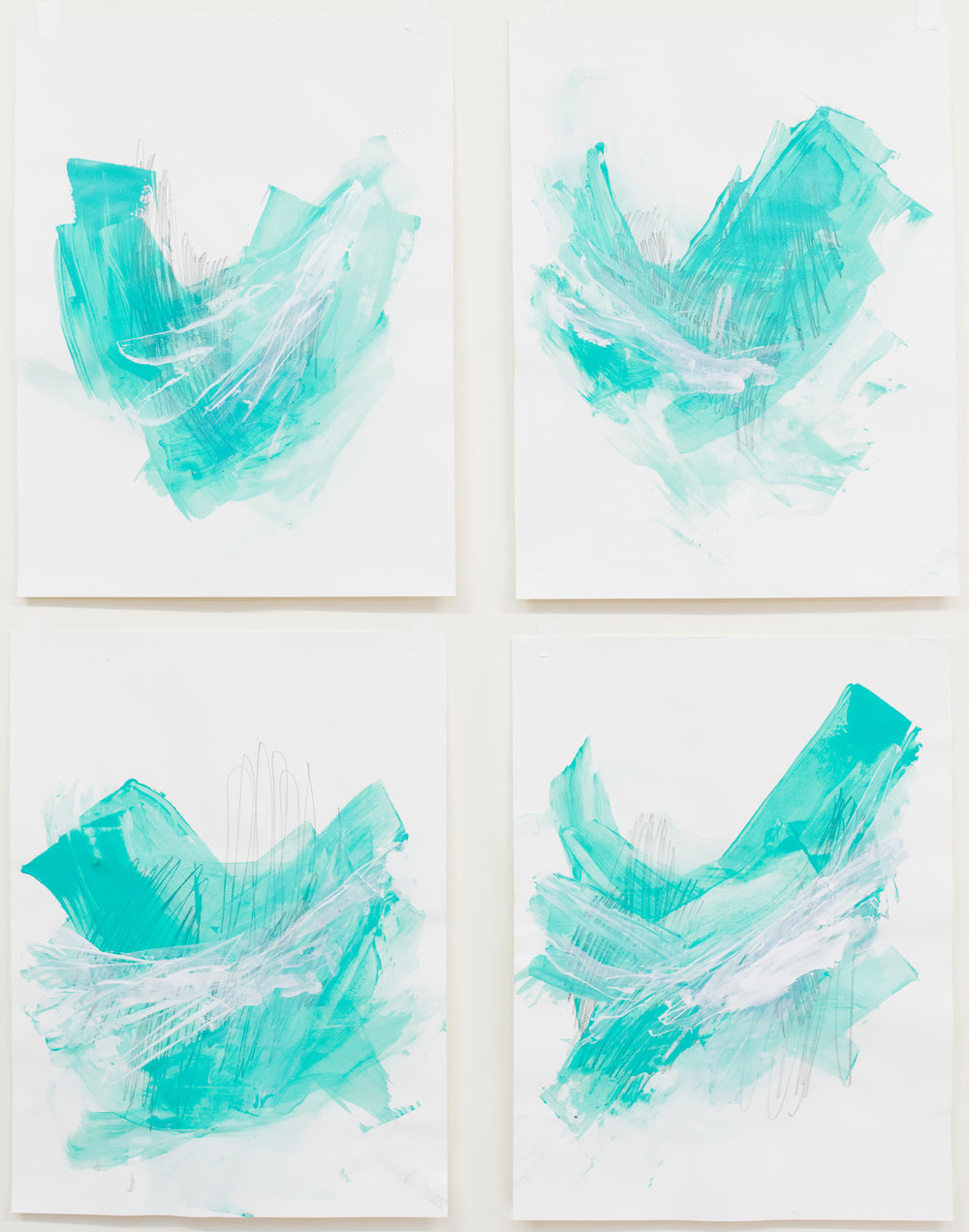 "Cold, Smoother and Sweet #1-4 , 18""x24"" each, acrylic on paper, 2017, available"