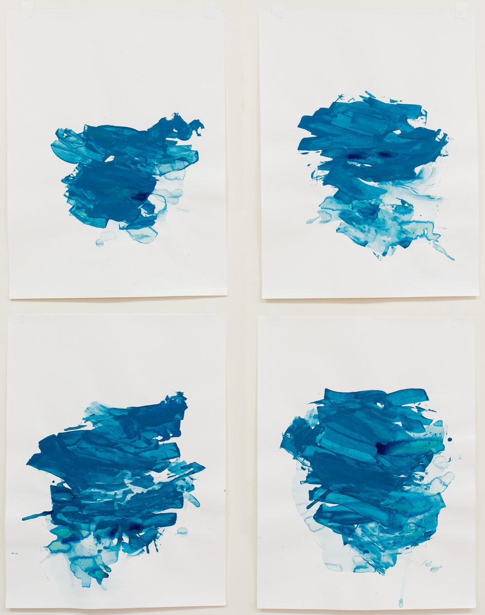 "Headwindt #1-4 , 18""x24"" each, acrylic on paper, 2018, available"