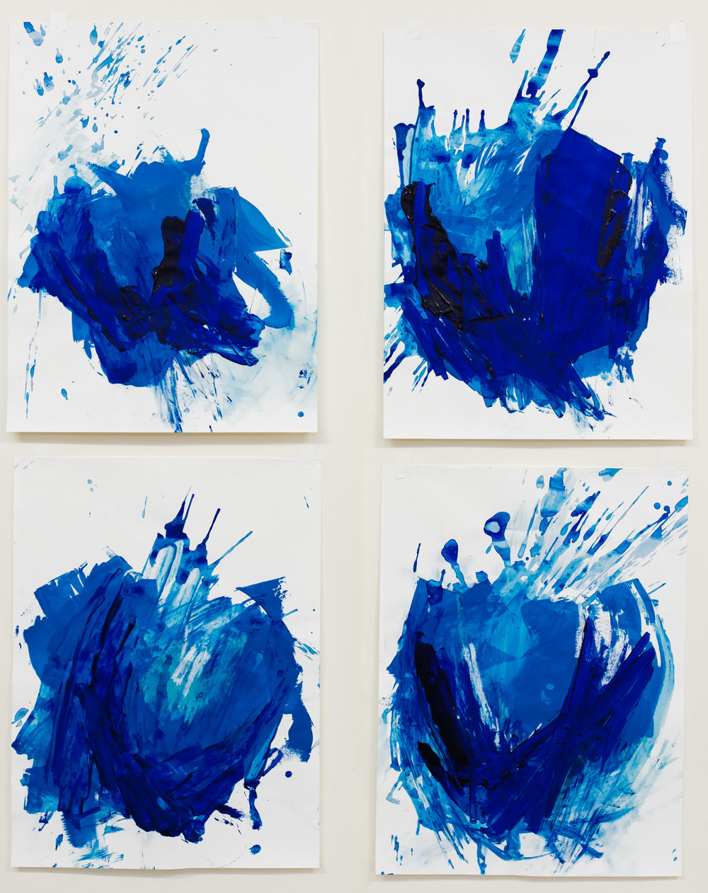 "Upheaval #1-4 , 18""x24"" each, acrylic on paper, 2018, available"