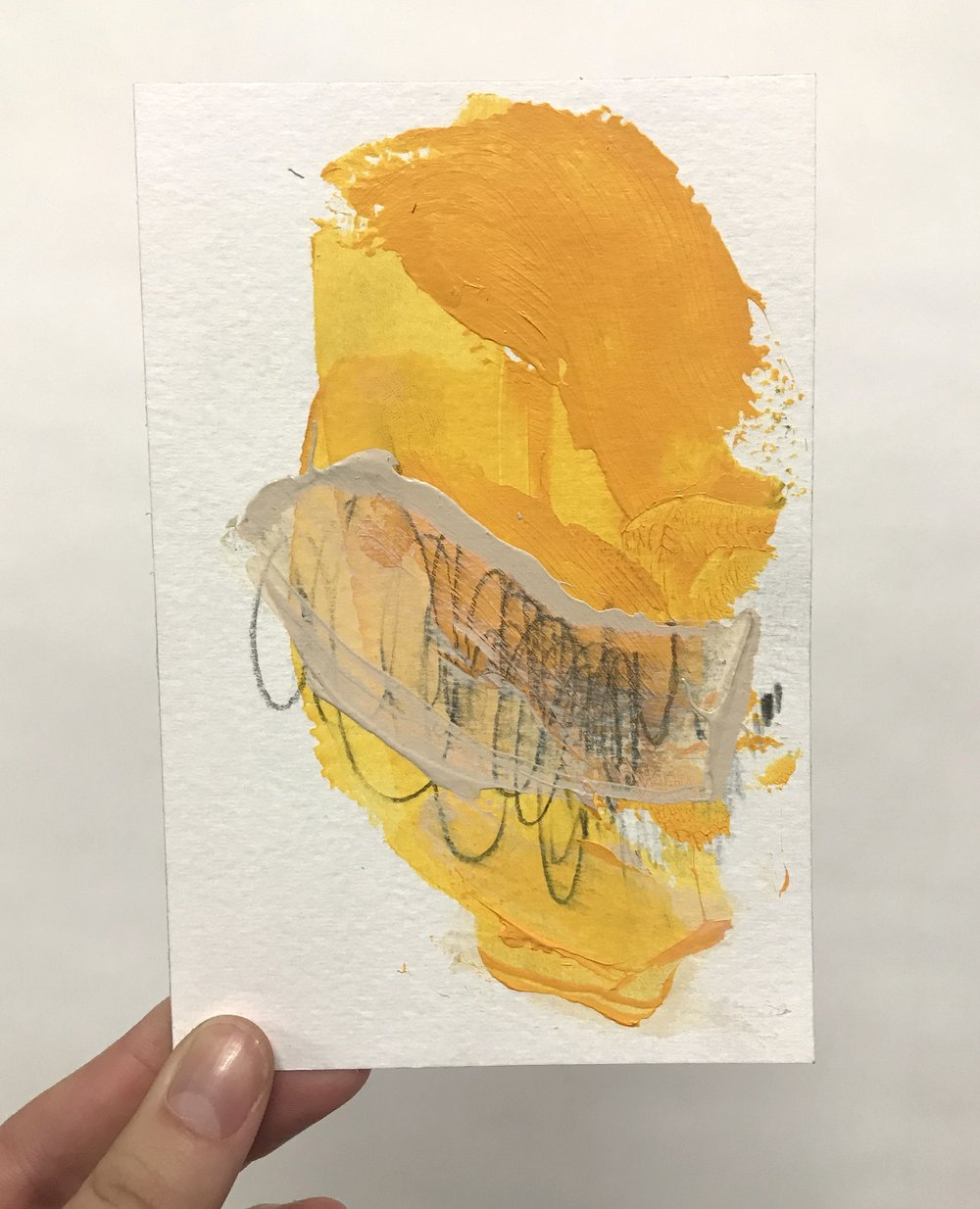 "Pinch #1, 4""x6"", acrylic + graphite on paper, 2018 / contact Katie for pricing"