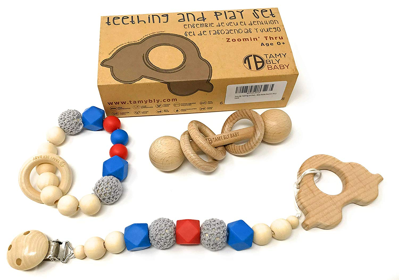 Hollow Teething Tubes Y Baby Teethers Teething Toys for Babies 0+ Months BPA Free//Freezer Safe//Dishwasher Safe