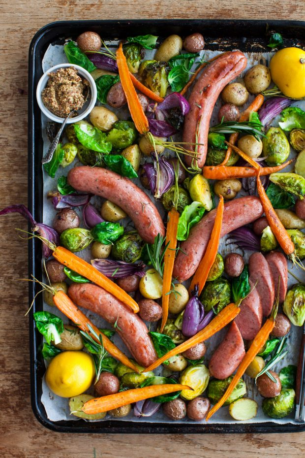 @aimeebourque One Pan Roast Sausages with Winter Vegetables
