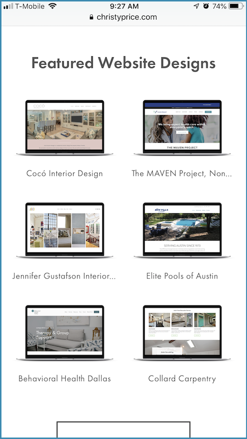 default gallery grid on Squarespace mobile
