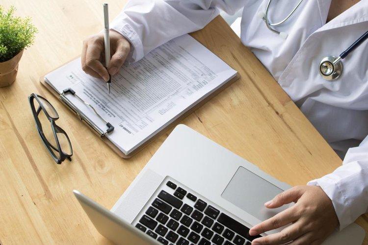 Physician doing paperwork