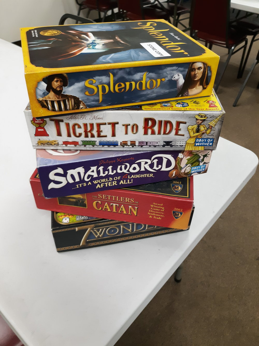 Board Games - ProductsWe Carry tons of the best euro and strategic board games; awesome stuff you won't find anywhere else!EventsDCG hosts FREE board game nights each week. So grab a few of your favorites from home and come meet some local gamers. Check out the events page for dates and times.DemosWant to test drive before you buy? We have open box demo copies of our most popular games; drop in and give one a spin!