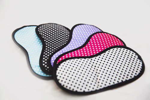 For little ladies looking for extra pampering, we have sleep masks to help them get their beauty sleep. Masks have a dot print, they are made out of cotton, measurements are 2.3cm x 10.5cm