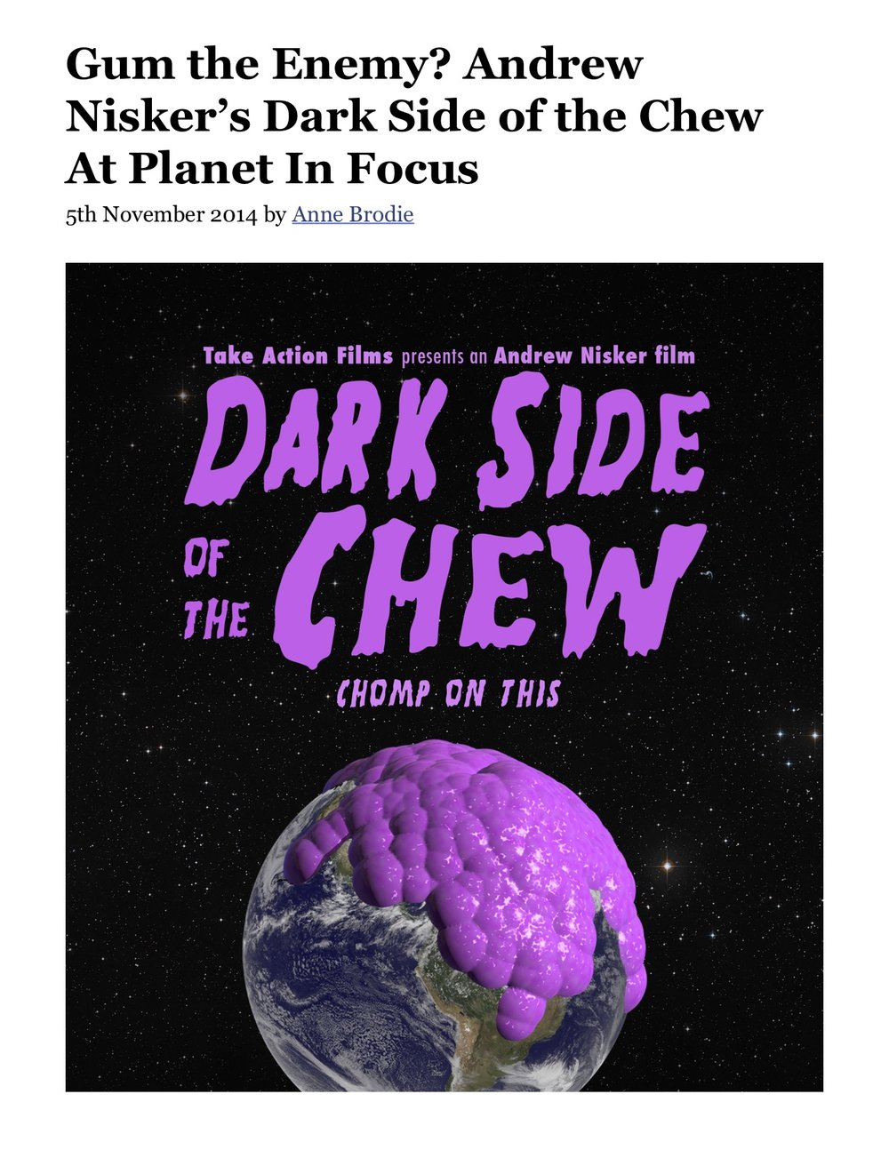 Gum the Enemy? Andrew Nisker's Dark Side of the Chew At Planet In Focus.jpg
