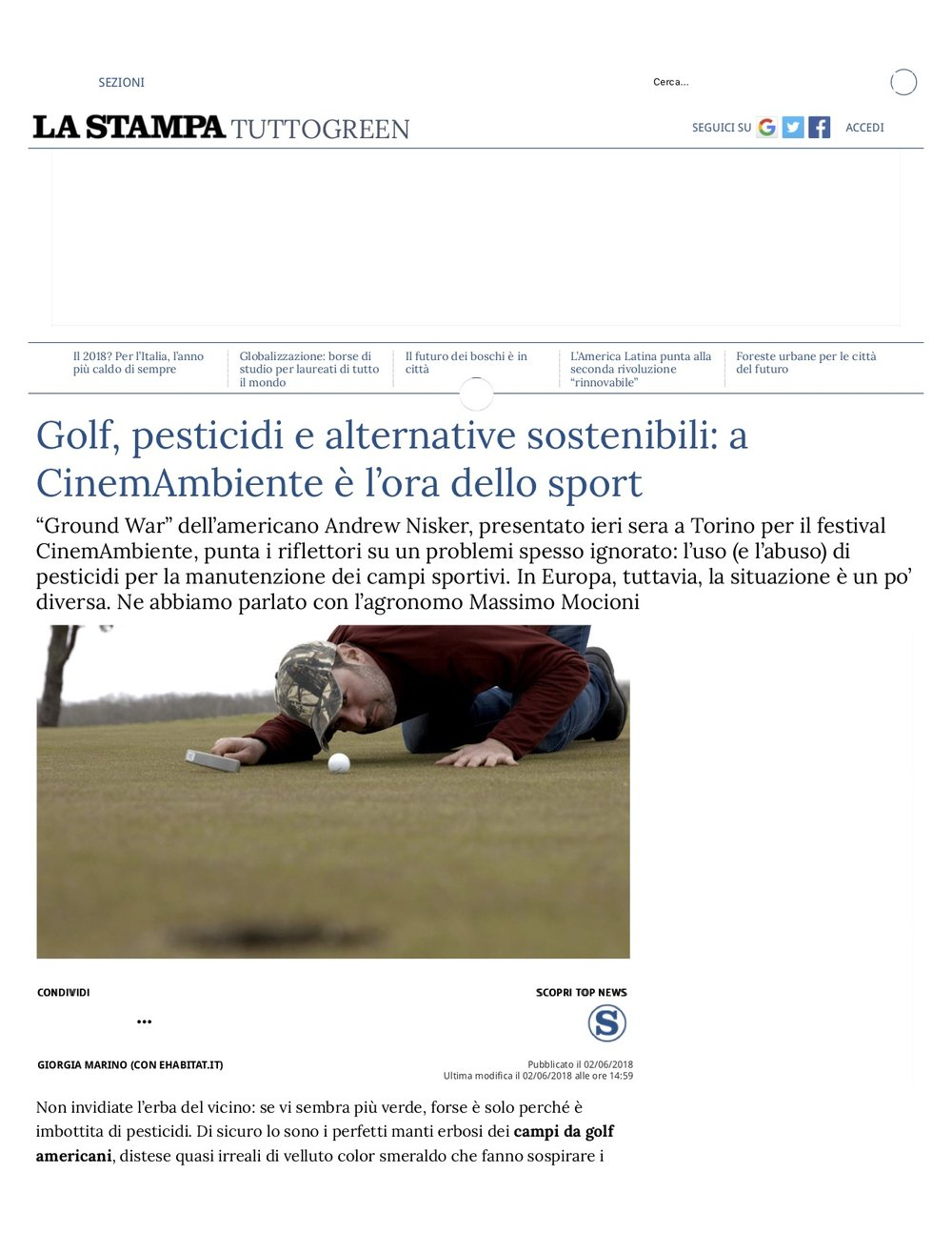 Golf, pesticidi e alternative sostenibili- a CinemAmbiente è l'ora dello sport - La Stampa.jpg