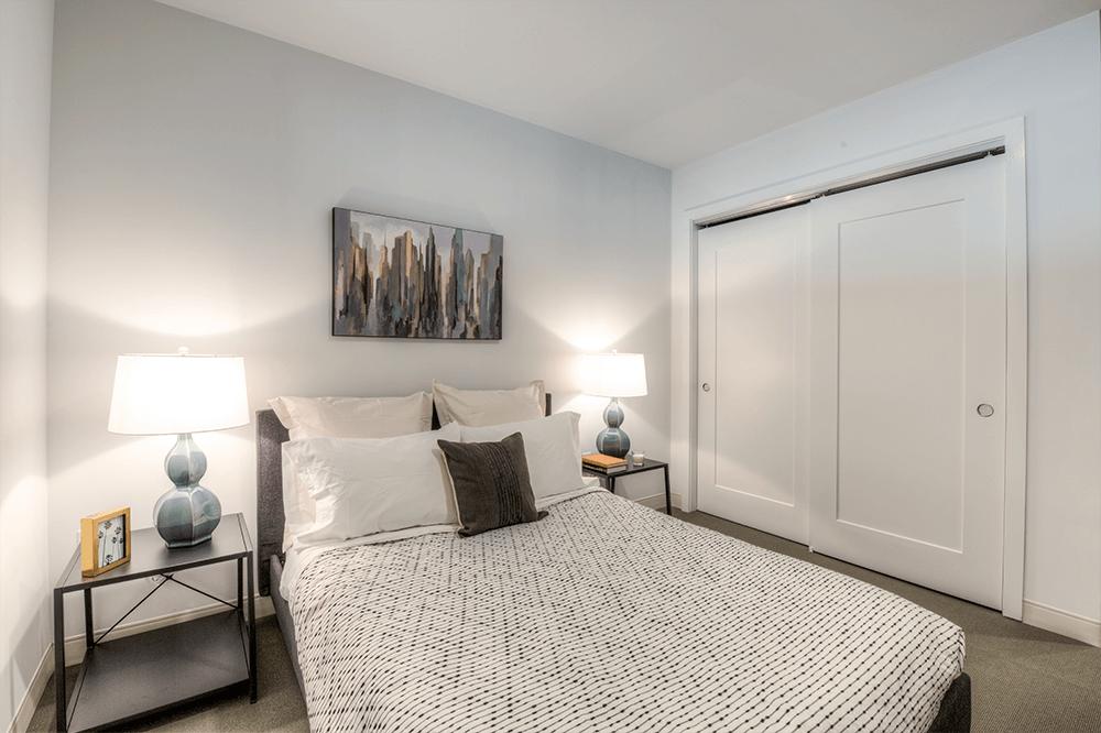 Bedrooms feature a lush carpet tile
