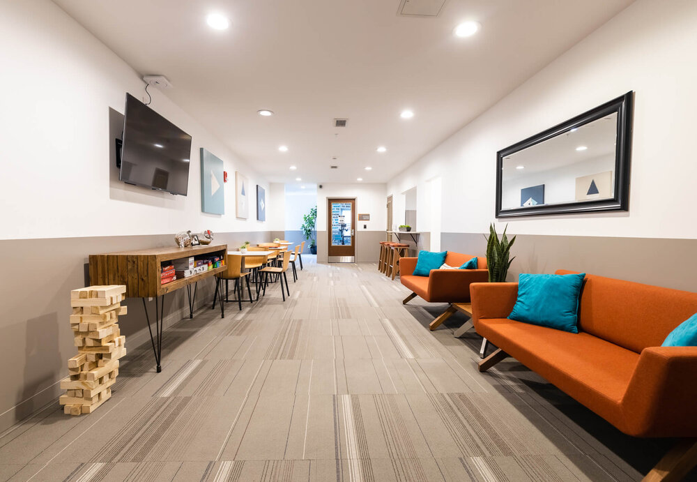 Resident Lounge on 4th Floor accessed through controlled elevators 24/7 with a feature to buzz up guests via cell phone