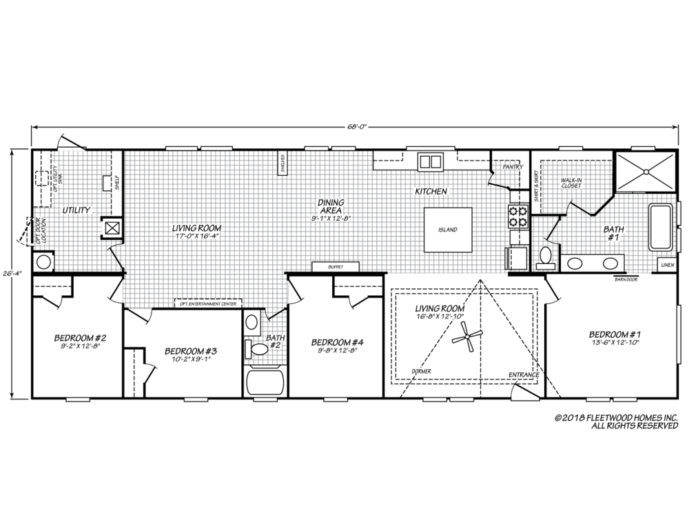 The floor-plan of Panther Place, a move-in ready manufactured double-wide home.