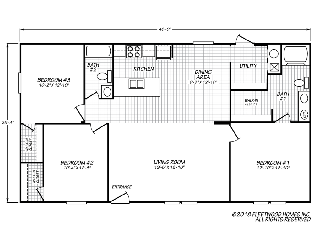 The floor-plan of Mountaineer Cabin, a move-in ready manufactured double-wide home.