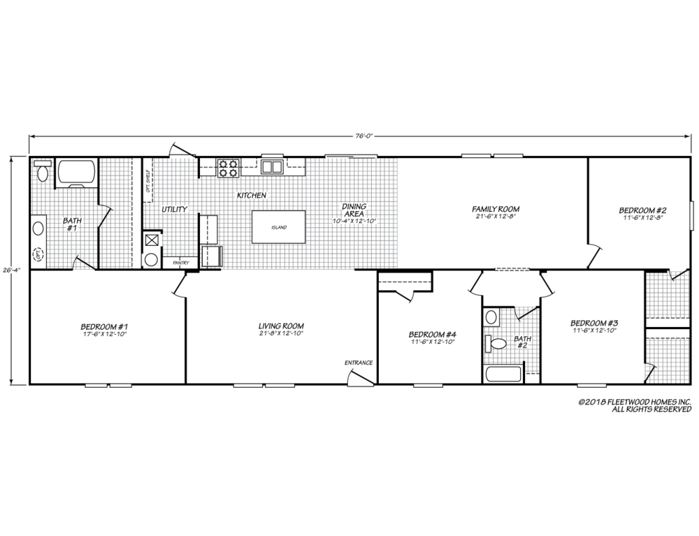 The floor-plan of Seahawk Chateau, a move-in ready manufactured double-wide home.