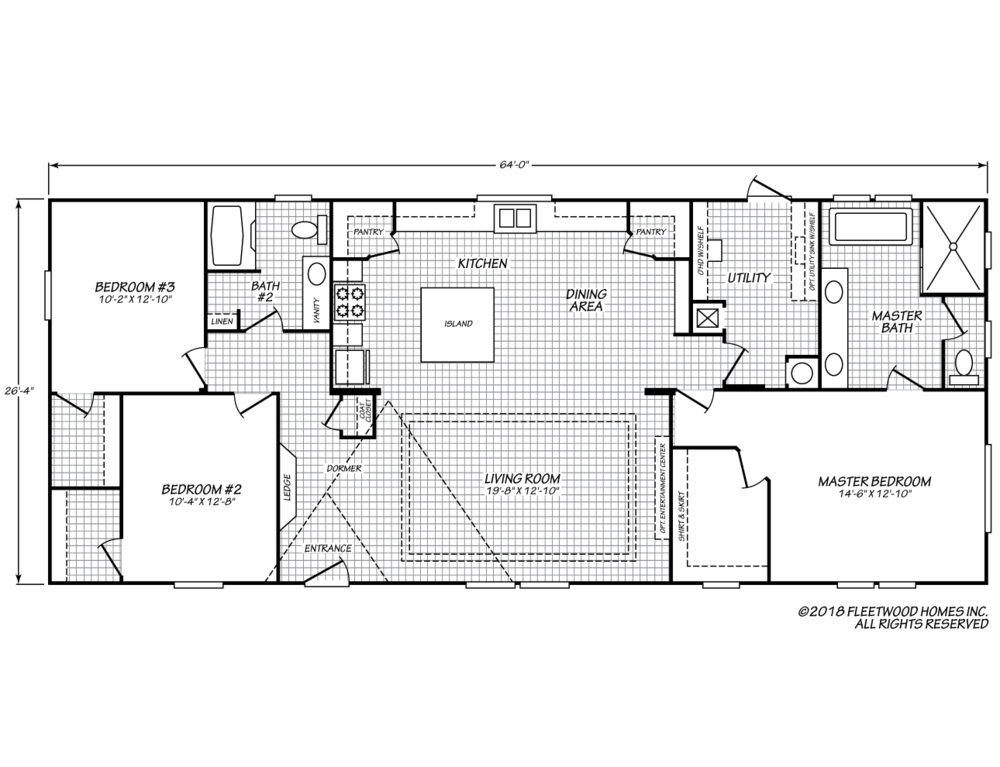 The floor-plan of Seminole Sanctuary, a beautiful manufactured double-wide home.