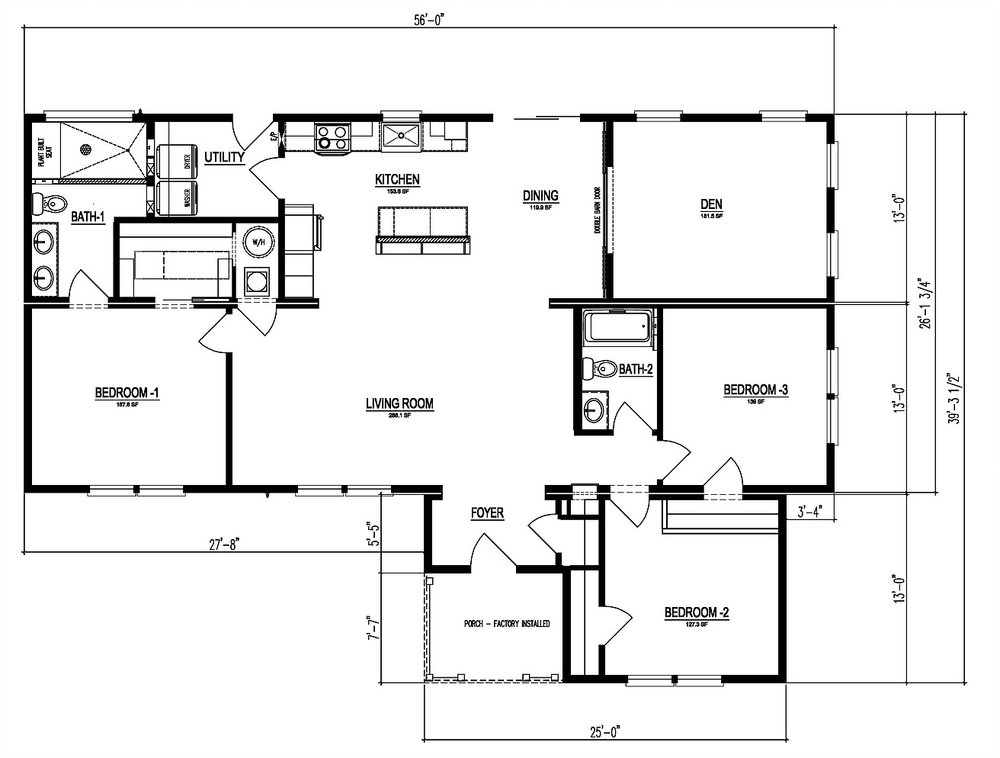 The floor-plan of Tarheel Haven, a spacious premium modular home.