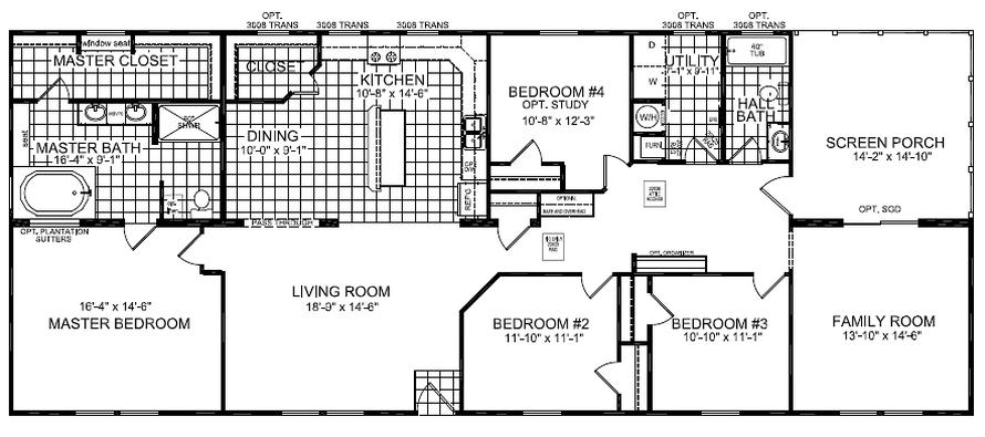 The floor-plan of Cane Castle, a spacious premium modular home.