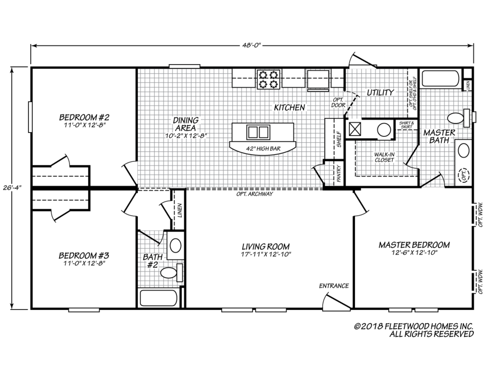 The floor-plan of Blue Devil Bungalow, a three bedroom manufactured double-wide home.