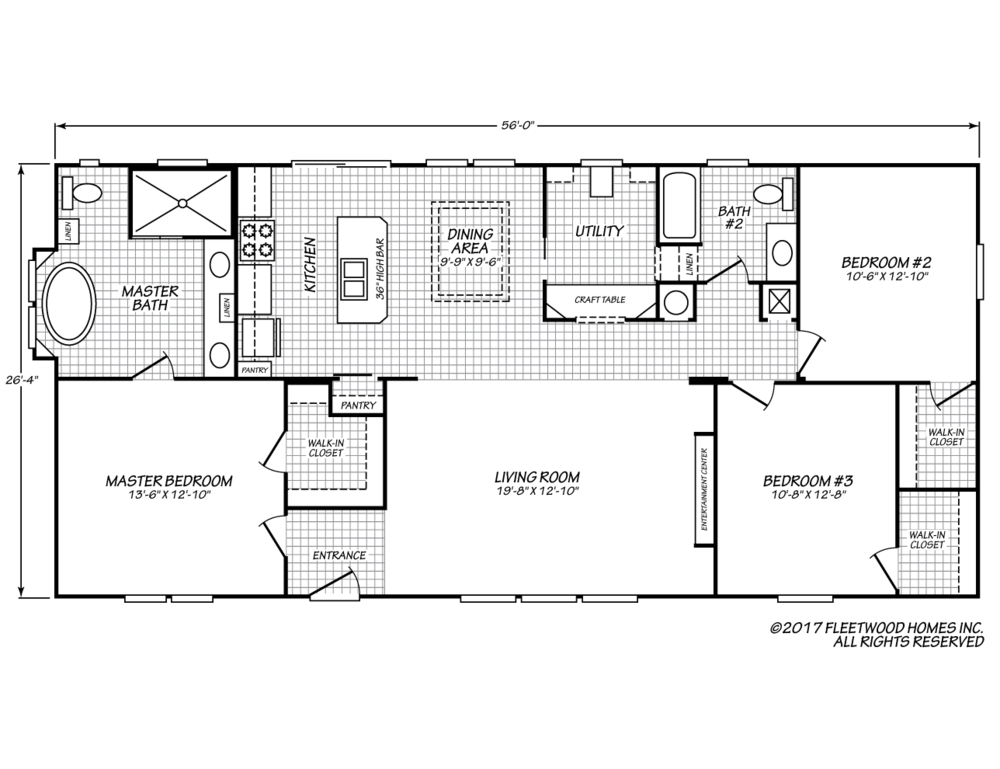 The floor-plan of The Liberty House , a three bedroom manufactured double-wide home.