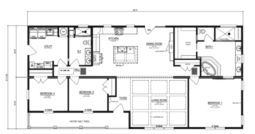 The floor-plan of Pirates Cove, a spacious manufactured home.