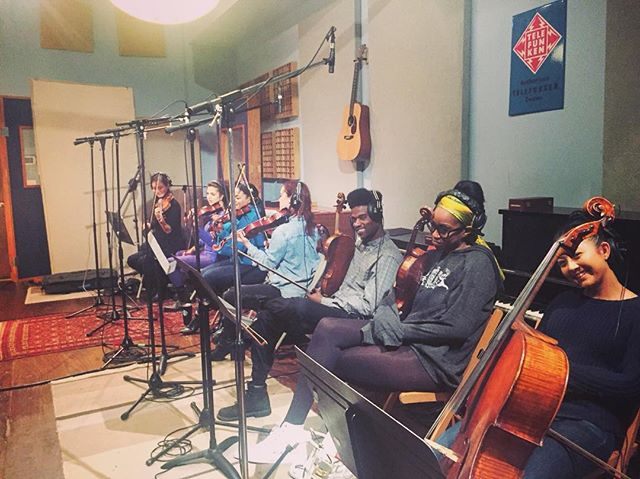 A quick pic from yesterday's 9am session with Mr. @josephreuben 🎙🎻 Comment for appreciation re: @tia.ivonne's bright-as-the-sun shoes 🔥  #littlekruta #coffeeplease #strings
