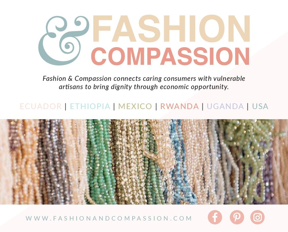 Fashion & Compassion creates empowerment communities where vulnerable women connect with God, one another and resources as their lives are transformed.  Fashion & Compassion runs programs in Charlotte, North Carolina and we partner with Artisan projects in six other countries. F&C teaches women to make jewelry and other crafts. These products provide supplemental income to the women and an income stream for the organization.  In Charlotte, we address two key issues the city is facing:   Economic Mobility   We help women who have fallen off the ladder of economic mobility re-gain that access or help women gain access to the ladder for the first time.   Cross-Cultural Reconciliation   We build communities where people from different races, socio-economic groups, religions, cultures, and ethnicities work side by side, getting to know and love one another.  The women we serve in Charlotte are referred by non-profit community partners. We introduce them to a diverse community where they learn work-readiness skills, receive emotional support and opportunities for spiritual growth.  The women served, called Artisans, create an Artisan Empowerment Plan that documents their physical, emotional and spiritual growth dreams for the future. The Plan breaks their dream down into achievable milestones. The Plan begins with 3 basic work readiness milestones: Arriving to work on time, having a good attitude and working diligently at assigned tasks. We connect the Artisans to employment opportunities and other resources in the local community as needed to accomplish dreams and reach the milestones they set in the Artisan Empowerment Plan.  In Kampala, Uganda we train extremely impoverished women to start micro-businesses and small village banks. Within the village bank, the women contribute savings and lend money to one another to grow their small businesses. After 2 years in our program, the women are able to support themselves and their families through the income from their small 