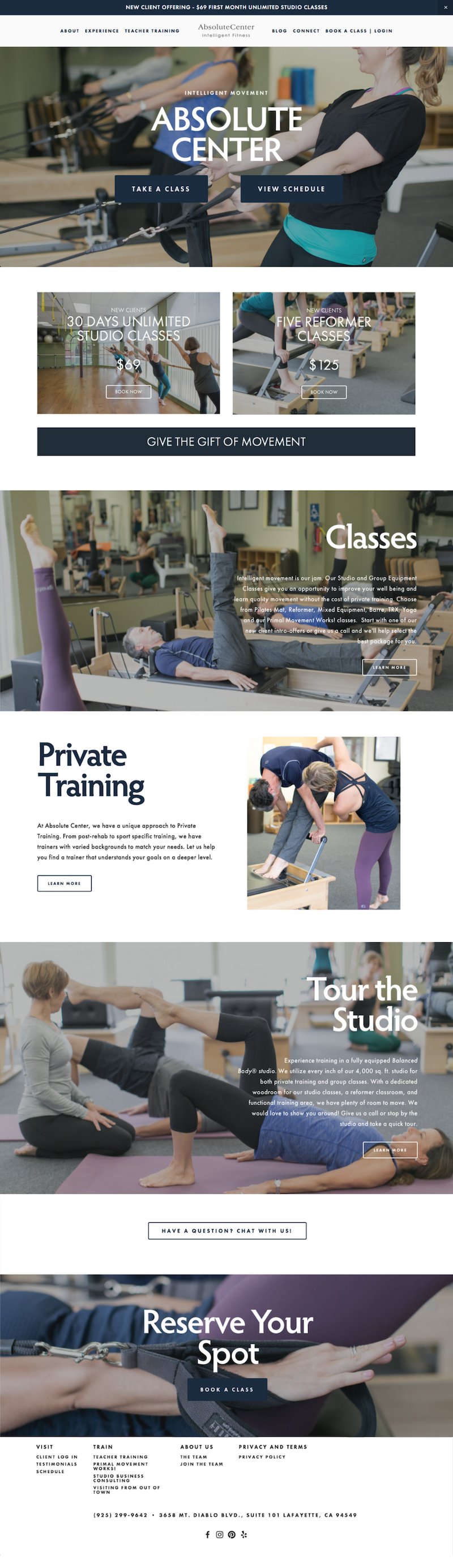 Squarespace custom built site for pilates and movement studio Absolute Center, with full MindBodyOnline Branded Web integration for smooth customer experience.