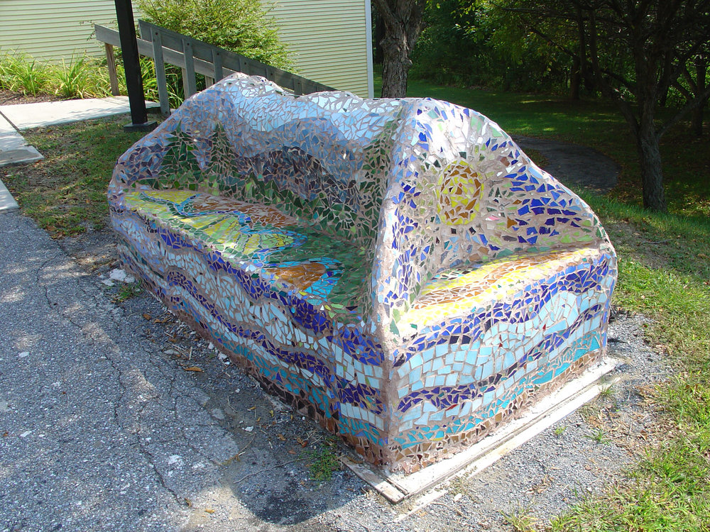 Each student had an aspect of their design incorporated into the mountain-like bench.