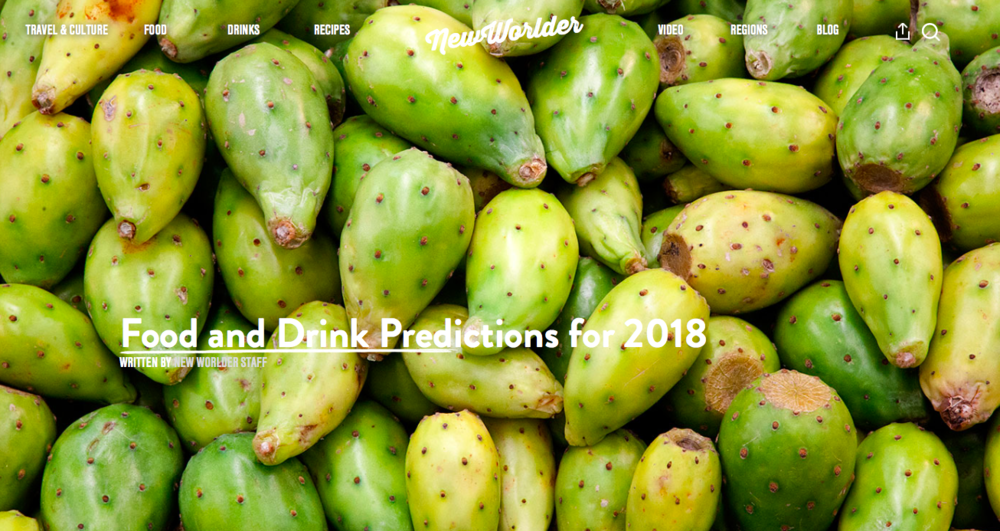 New Worlder - Food & Drink Predictions 2018