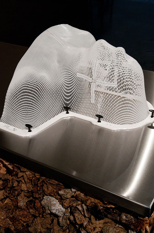 James Darling & Lesley Forwood,  Treatment Bench  (detail), 2014, 0.9 tonnes of Mallee roots, stainless steel, head and shoulders masked, 0.75 x 2.25 x 0.75 m