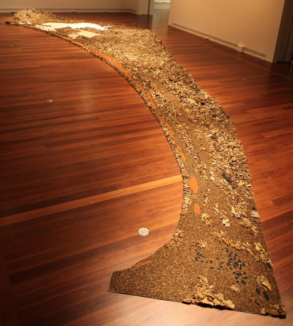 James Darling & Lesley Forwood,  River to Ocean , 2013, 3.75 tonnes Mallee roots & salt, sound by Philip Samartzis, 13.5 x 4.75 x 0.70 m, at  Heartland , Art Gallery of South Australia