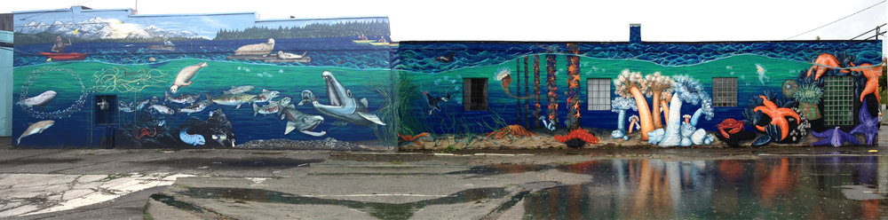 The full Estuarium Mural on the side of the Puget Sound Estuarium building.