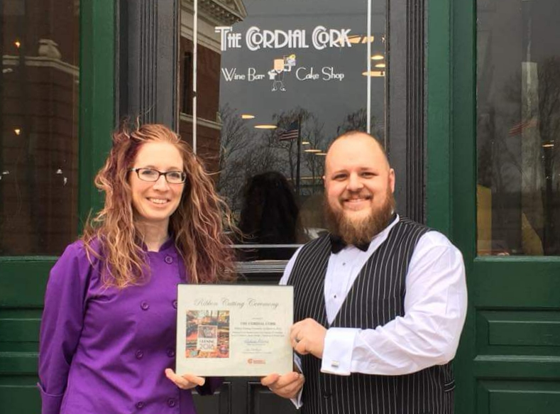 Lisa of LisaCakes, LLC & Adam of The Cordial Cork, Grand Opening, March 6, 2018
