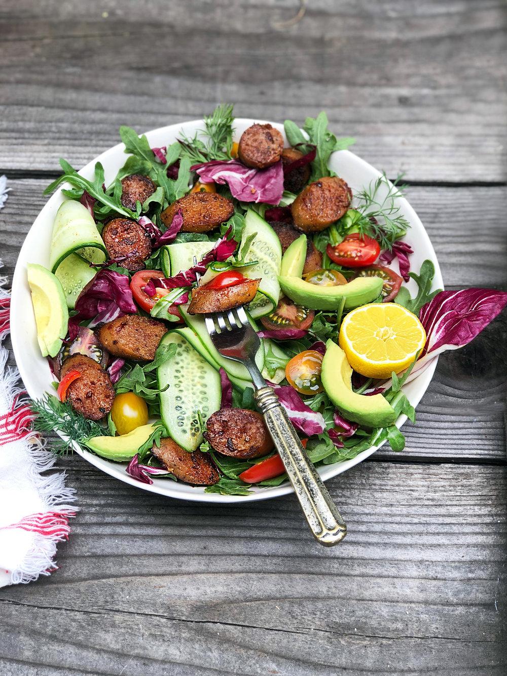 Field Roast, salad, Italian vegan sausage