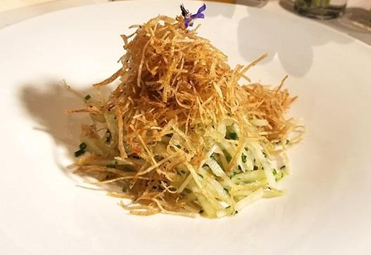 karate salad - kohlrabi, crispy potato, black truffle, garlic blossom