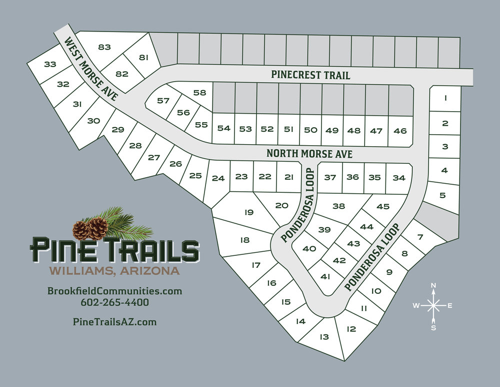 At Pine Trails, there are over XX beautiful lots to choose from. Welcome home to your new home at Pine Trails in historic Williams, Arizona.