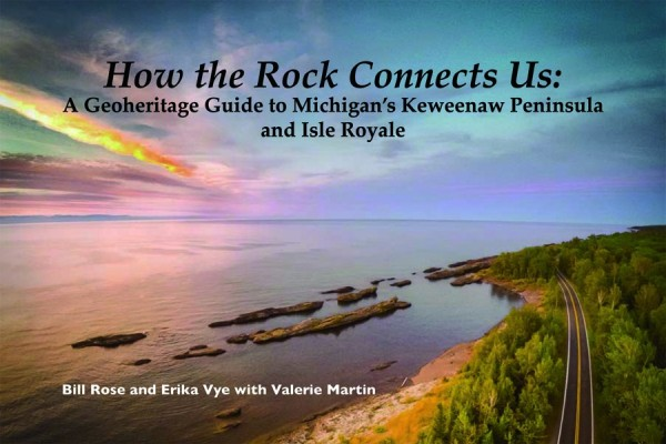How the Rocks Connect Us: A Geoheritage Guide to Michigan's Keweenaw Peninsula and Isle Royale  , by Bill Rose and Ericka Vye with Valerie Martin.  This handbook is a comprehensive overview of underlying geologic features and their influence on human life and the history of the region. It has lots of photos and maps that clearly illustrate information presented. The text is concise and understandable so a geology degree is not required to understand it. Handy links to further information on the geoheritage website are with each topic and location highlighted. This book is available at some local stores, at the Keweenaw National Historical Park Visitor Center in Calumet, or from the Isle Royale & Keweenaw Parks Association at  https://irkpa.org/ .