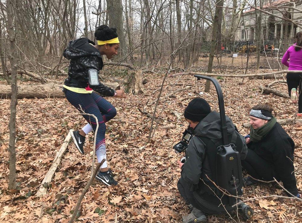 Actor Aubrey Taylor, Cinematographer Liza Gipsova and  Run-Ins  Creator Justine Neubarth on location in Prospect Park, Brooklyn, for Episode 2.